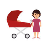 Membres de la famille heureux avec la voiture de bébé Images stock