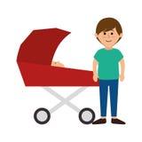 Membres de la famille heureux avec la voiture de bébé Photos libres de droits