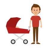 Membres de la famille heureux avec la voiture de bébé Image libre de droits