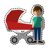 Membres de la famille heureux avec la voiture de bébé Image stock