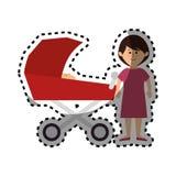 Membres de la famille heureux avec la voiture de bébé Images libres de droits