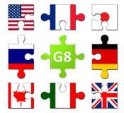 Membri dei paesi del gruppo di G8 Immagine Stock