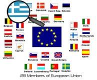 Membri dell'Unione Europea 28 con l'ingrandimento Immagine Stock
