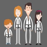 Membri della famiglia che fanno le illustrazioni del personaggio dei cartoni animati di arti marziali illustrazione vettoriale