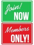 Membri segni del sito Web dell'unire e soltanto ora Immagini Stock