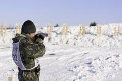 Membro do campeonato do biathlon da caça Imagem de Stock Royalty Free