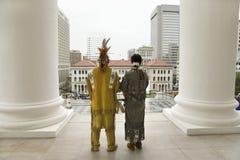 Membro tribale americano dell'indiano due e di Powhatan Fotografie Stock Libere da Diritti