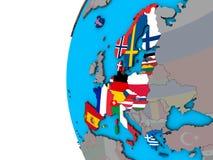 Membros da área de Schengen com as bandeiras no globo 3D ilustração royalty free