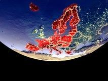 Membros da área de Schengen na noite do espaço ilustração stock