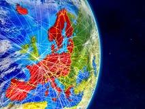Membros da área de Schengen na terra do planeta com redes Superfície e nuvens extremamente detalhadas do planeta ilustração 3D El ilustração do vetor