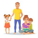 Membros da família caucasianos, pais ilustração do vetor