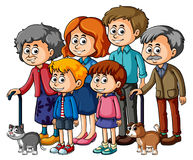 Membros da família com pais e crianças Fotos de Stock