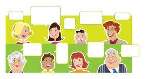 Membros da família com balões do diálogo Imagens de Stock Royalty Free