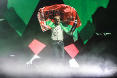 Membros de ARMIN SOMENTE: Mostra intensa com Armin van Buuren na Minsk-arena o 21 de fevereiro de 2014 Imagens de Stock Royalty Free