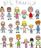 Membros do Doodle de grandes famílias ilustração do vetor
