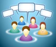 Membros sociais da rede com nuvens do texto ilustração royalty free