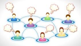 Membros sociais da rede com nuvens do texto ilustração do vetor