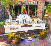 Memento of deceased at an altar in Olvera Street, Los Angeles Stock Photo