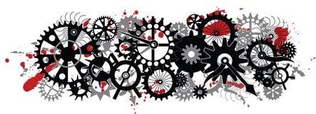 Memento morum motif. Clocks gear dirt and blood- cruel times design Stock Photo