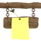 Memo attached to a board an arrow. Royalty Free Stock Photography
