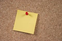 Memo board and note. Corkboard with memo note and pin Royalty Free Stock Photos