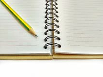 Memo book. Empty Diary book with pencil on white background Royalty Free Stock Images
