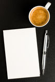 Memo Book Pen and Coffee stock photo