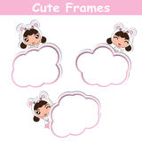Memo card paper vector cartoon design with cute panda girls on pink frame suitable for kid postcard. And greeting card Royalty Free Stock Photography