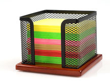 Memo cube stand. And color notes isolated Stock Image