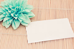Memo with flower on bamboo, add your text Royalty Free Stock Photography