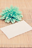 Memo with flower on bamboo, add your text Royalty Free Stock Photo