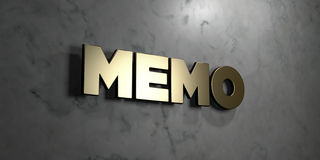 Memo - Gold sign mounted on glossy marble wall  - 3D rendered royalty free stock illustration Stock Photo