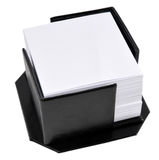 Memo holder. Black leather memo pad holder with blank white memo paper, isolated on a white background Stock Photo