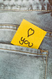 Memo note I love you, trouser pocket Stock Photos