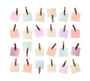 Memo note papers on clothespin Stock Photography