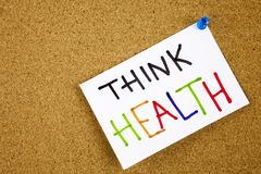 Memo note pinned to a cork notice board as reminder Think Health Stock Images