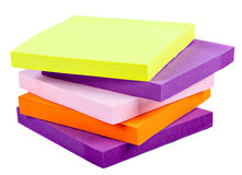 Memo Note on Stack of Postits. Memo Note on Stack on a white background close up Royalty Free Stock Image
