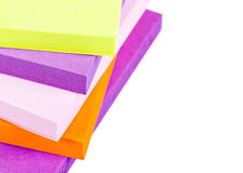 Memo Note on Stack of Postits. Memo Note on Stack on a white background close up Stock Photo
