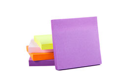 Memo Note on Stack of Postits. Memo Note on Stack on a white background close up Royalty Free Stock Photo