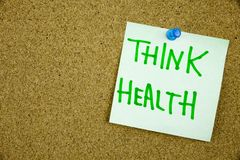 Memo note on Sticky note Think Health, think of your Helath royalty free stock photos