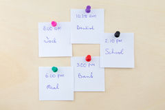Memo notes on pin-up board Royalty Free Stock Photo