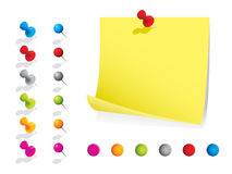 Memo notes with pins. Please check my portfolio for more stationery illustrations Royalty Free Stock Photos