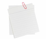 Memo Notes With Red Paper Clip Royalty Free Stock Photos