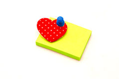 Memo pad with heart and pin Stock Photos