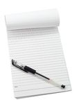 Memo pad and pen. Isolated on white Royalty Free Stock Photography