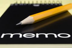 Memo Pad and Pencil. Stock Photography