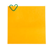 Memo paper and clip in the form of heart Stock Photo