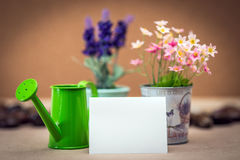 Memo paper and green watering can. Memo paper and a green watering can and vases of flower Stock Image