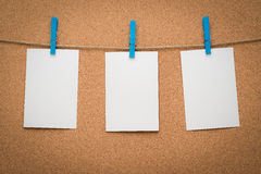 Memo paper hanging on a rope. Stock Images