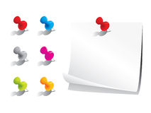 Memo paper and pins stock illustration